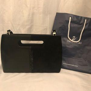 Swarovski Black Leather Suede Clutch Bag